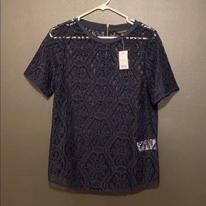Navy lace blouse BRAND new 🌻